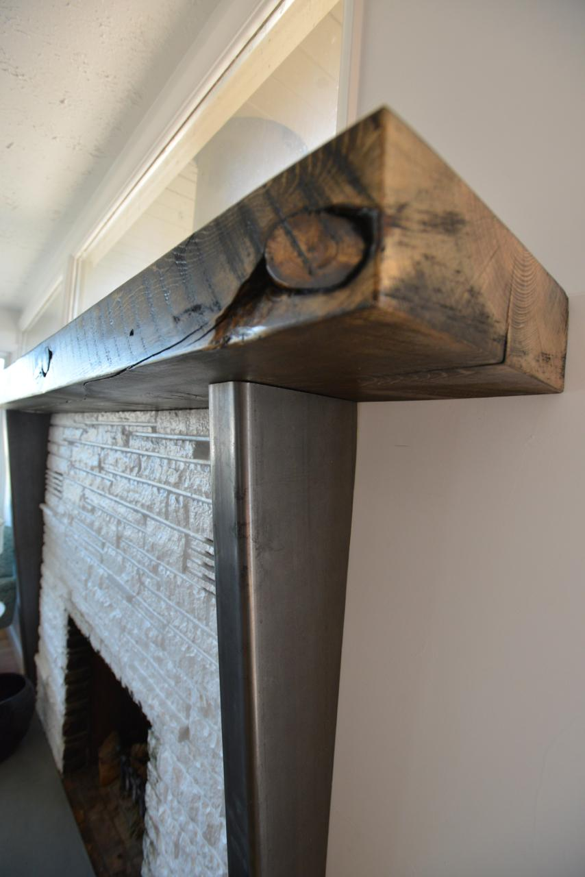 Custom Steel Reclaimed Wood Mantle Piece Jacob Clyde