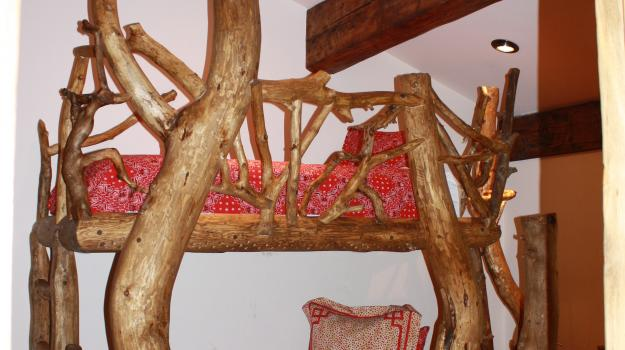 Custom Log Wood Bunk Bed